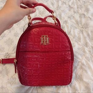 Tommy hilfiger red leather mini backpack
